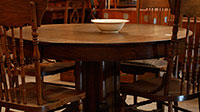 Round Oak Table and Pressed Back Chairs
